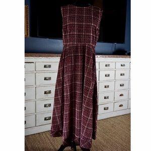 Anthropologie Romy Plaid Velvet Midi Dress